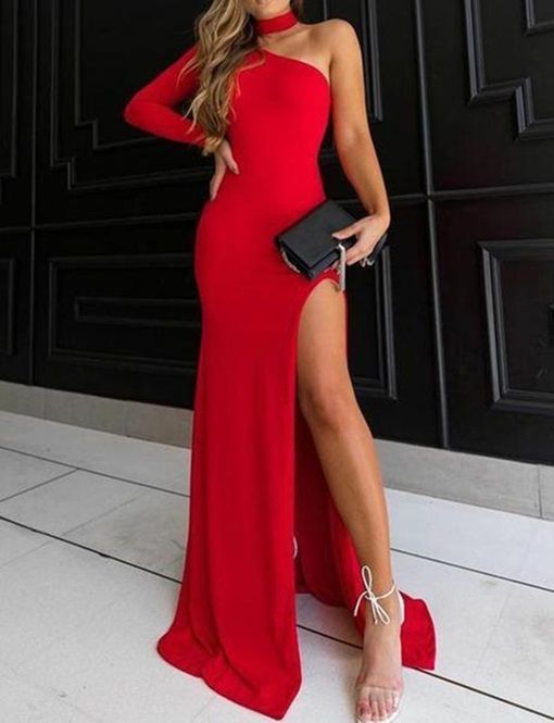 Ericdress Sheath One Shoulder Long Sleeve Red Evening Dress