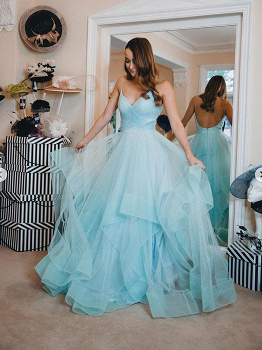 Ericdress A-Line Sleeveless Floor-Length Tiered Prom Dress 2019