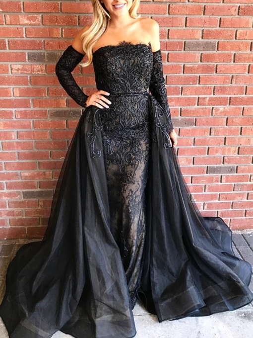 Ericdress Lace Off-The-Shoulder Sheath Black Evening Dress 2019