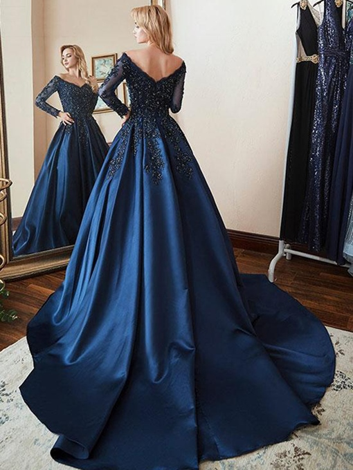 Ericdress Long Sleeves V-Neck Beading Evening Dress 2019
