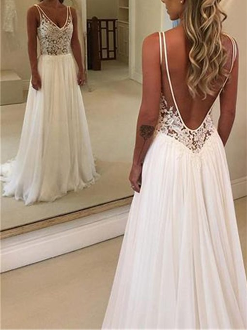 Ericdress Appliques Backless Beach Wedding Dress 2019