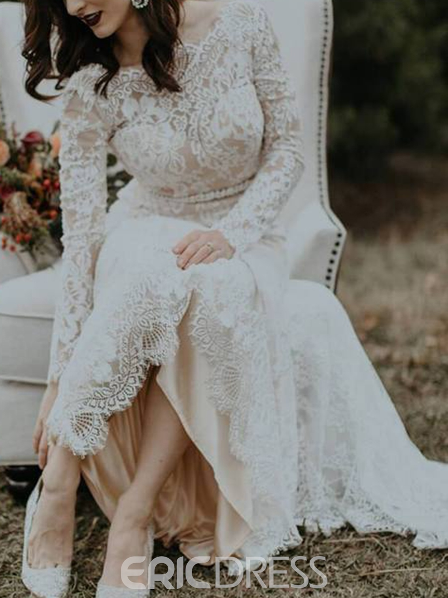 Ericdress Beading Long Sleeve Backless Lace Wedding Dress