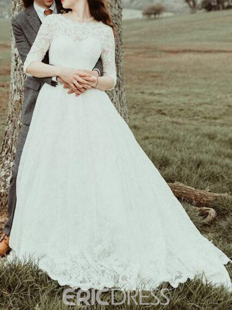 Ericdress Half Sleeves Button Backless Lace Wedding Dress 2019