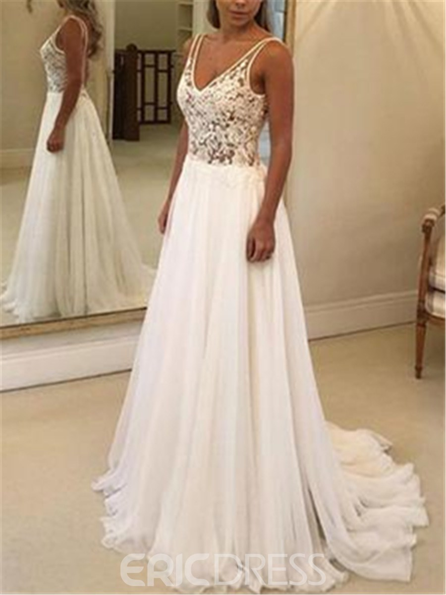 Ericdress Appliques Backless Beach Wedding Dress