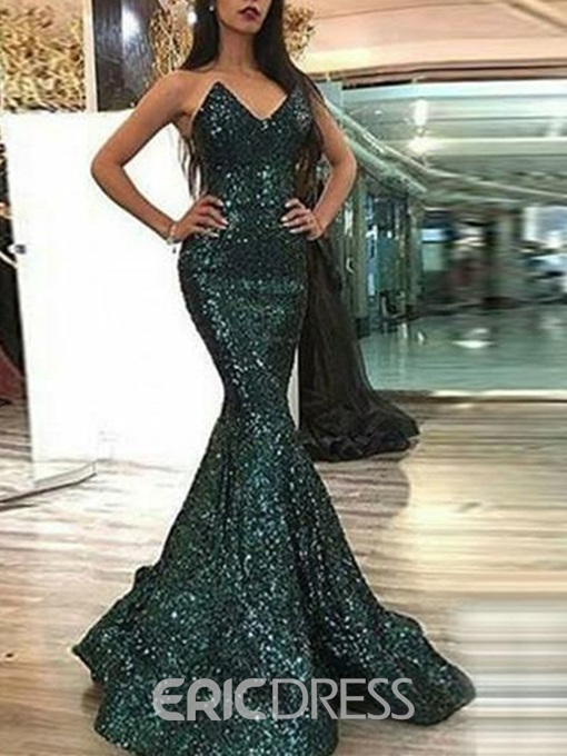 Ericdress Sleeveless Mermiad Sequins Evening Dress 2019