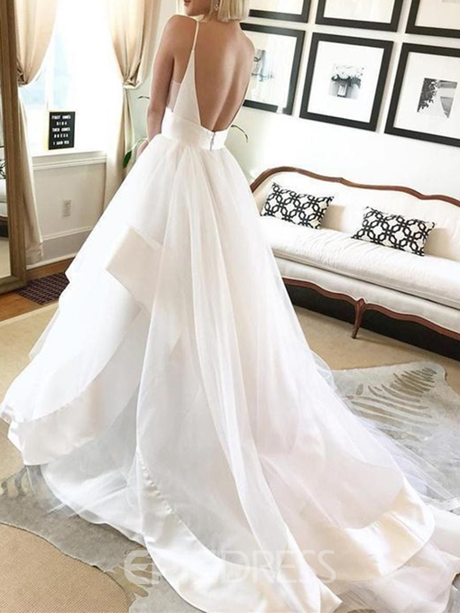 Ericdress Tiered Spaghetti Straps Backless Wedding Dress