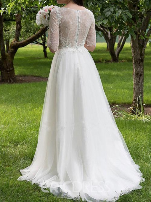 Ericdress Lace Half Sleeves Plus Size Wedding Dress 2019