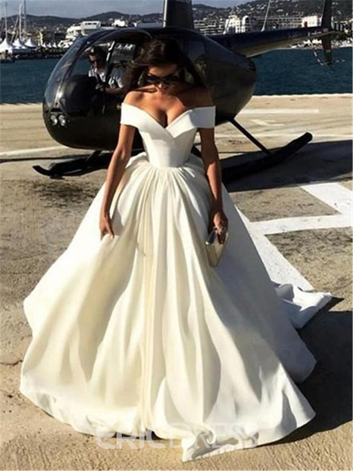 Ericdress Off-The-Shoulder Matte Satin Ball Gown Wedding Dress 2019