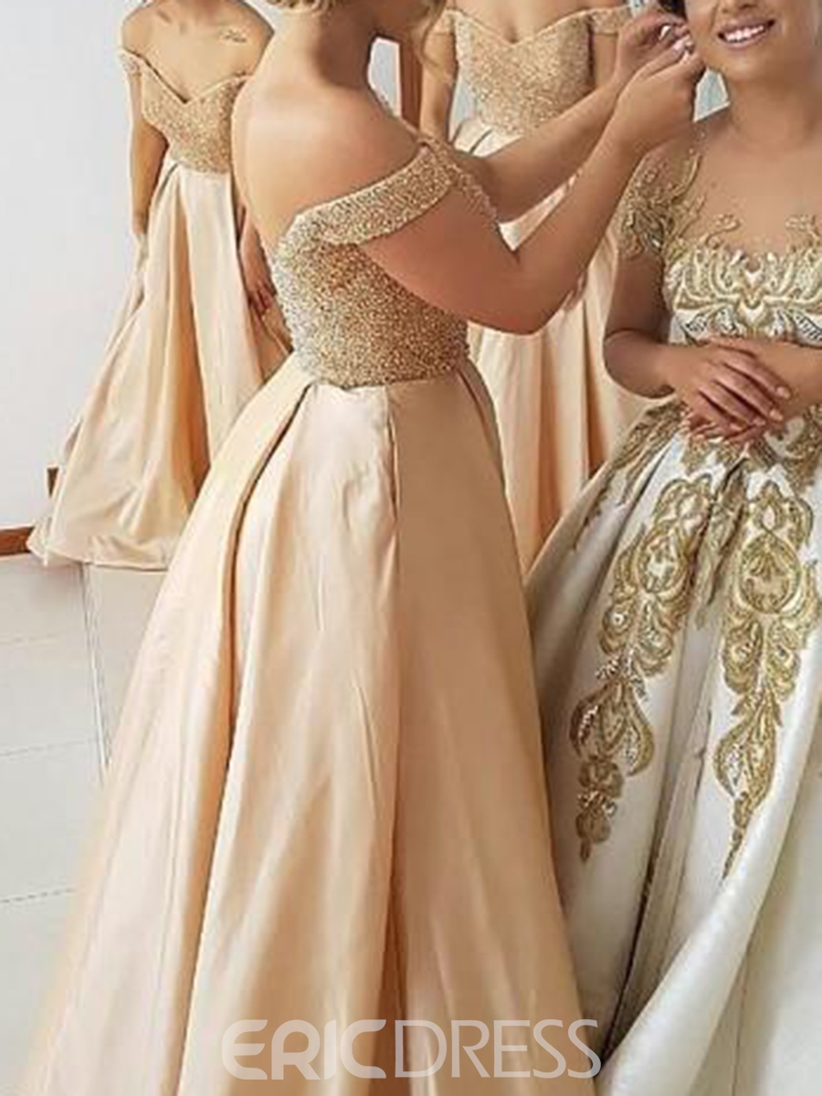 Ericdress Off-The-Shoulder Beading A-Line Bridesmaid Dress