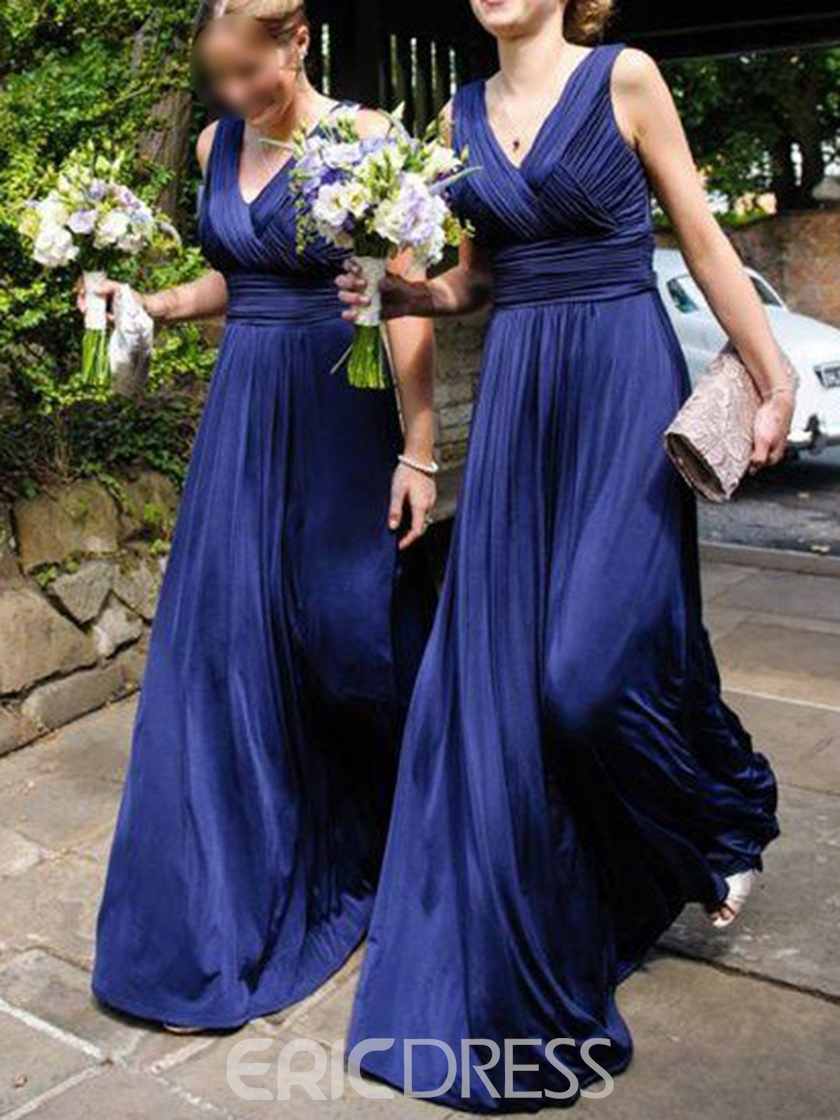 Sleeveless A-Line V-Neck Ruched Bridesmaid Dress 2019