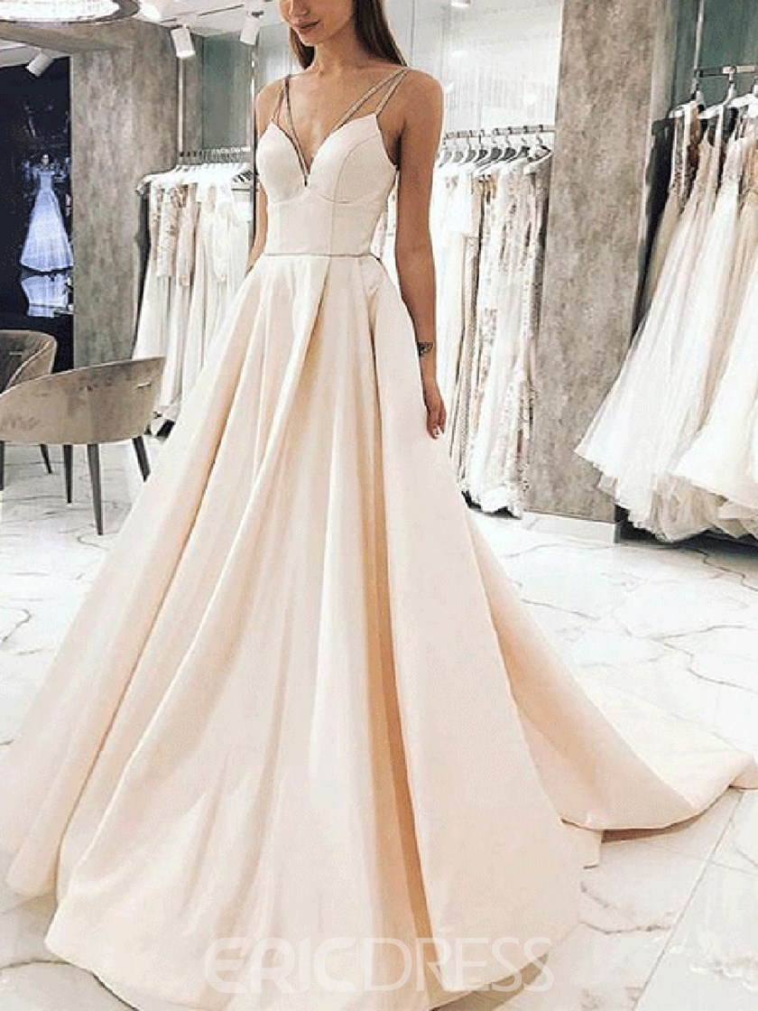 Beading Spaghetti Straps Chapel A-Line Evening Dress 2019