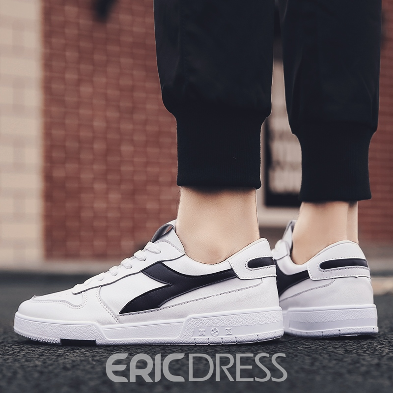 Ericdress PU Color Block Lace-Up Round Toe Men's Skate Shoes