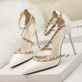 Ericdress Rivet Buckle Stiletto Heel Pointed Toe Pumps