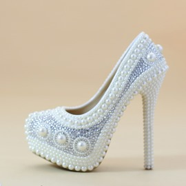 Ericdress Beads Slip-On Stiletto Heel Wedding Shoes