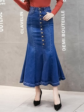 Ericdress Mermaid Plain Pocket Denim High-Waist Skirt