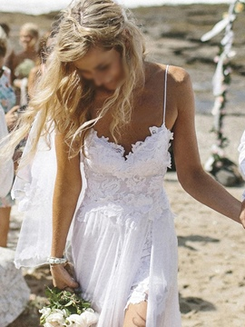 Ericdress Straps Lace Split-Front Beach Wedding Dress