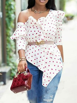 Ericdress Polka Dots Oblique Collar Asymmetric Mid-Length Three-Quarter Sleeve Blouse