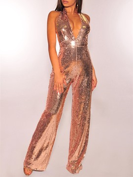 Ericdress Sequins Plain Date Night Slim Straight Jumpsuit