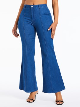 Ericdress Plain Wide Legs Loose Mid-Waist Flare Jeans