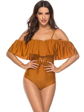 Ericdress Falbala One Piece Plain Monokini