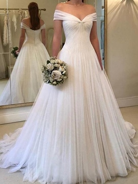 Ericdress Off the Shoulder A-Line Hall Wedding Dress 2019