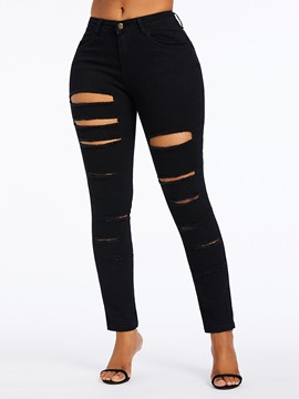 Ericdress Ripped Hole Plain High-Waist Zipper Jeans