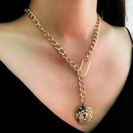 Ericdress Golden Plate Pendant Necklace For Women