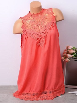 Ericdress Lace Sleeveless Mid-Length Blouse