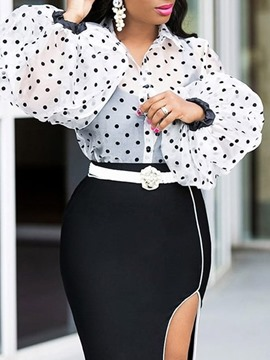 Ericdress Lapel Polka Dots Lantern Sleeve Long Sleeve Standard Blouse