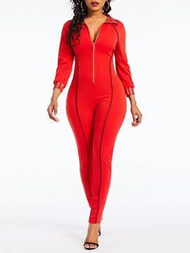 Ericdress Full Length Plain Zipper Slim Pencil Pants Jumpsuit