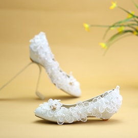 Ericdress Beads Round Toe Wedge Heel Wedding Shoes
