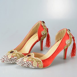 Ericdress Beads Silk Fabric Pointed Toe Stiletto Heel Wedding Shoes
