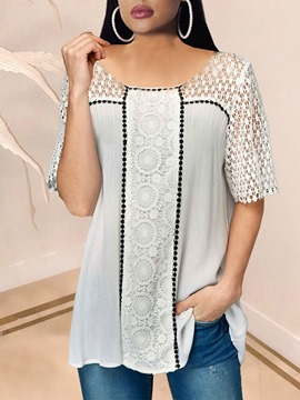 Ericdress Mid-Length Short Sleeve Round Neck Loose Casual T-Shirt