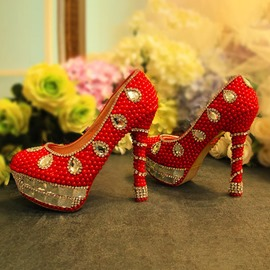 Ericdress Round Toe Stiletto Heel Rhinestone Wedding Shoes