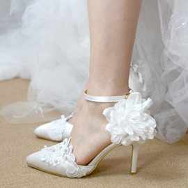 Ericdress Floral Silk Fabric Pointed Toe Stiletto Heel Wedding Shoes