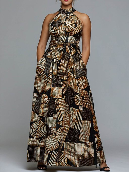 Ericdress Floor-Length Stand Collar Sleeveless Print Dress