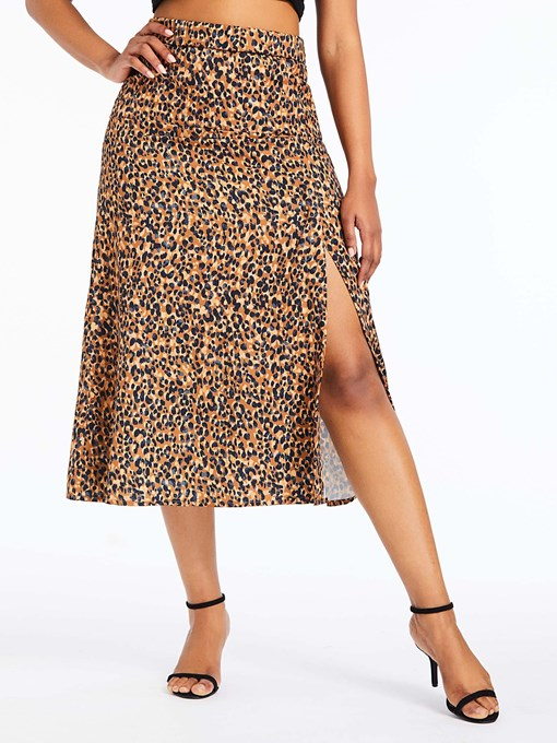 Ericdress A-Line Leopard Slit Mid-Calf Fashion Skirt