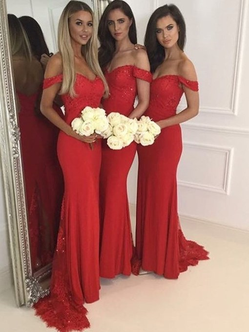 Ericdress Off-The-Shoulder Bridesmaid Dress 2019