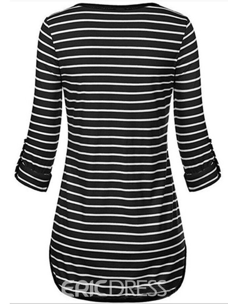 Ericdress V-Neck Stripe Long Sleeve Casual Slim T-Shirt