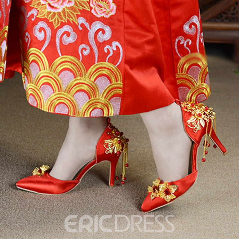 Ericdress Silk Fabric Appliques Pointed Toe Stiletto Heel Wedding Shoes