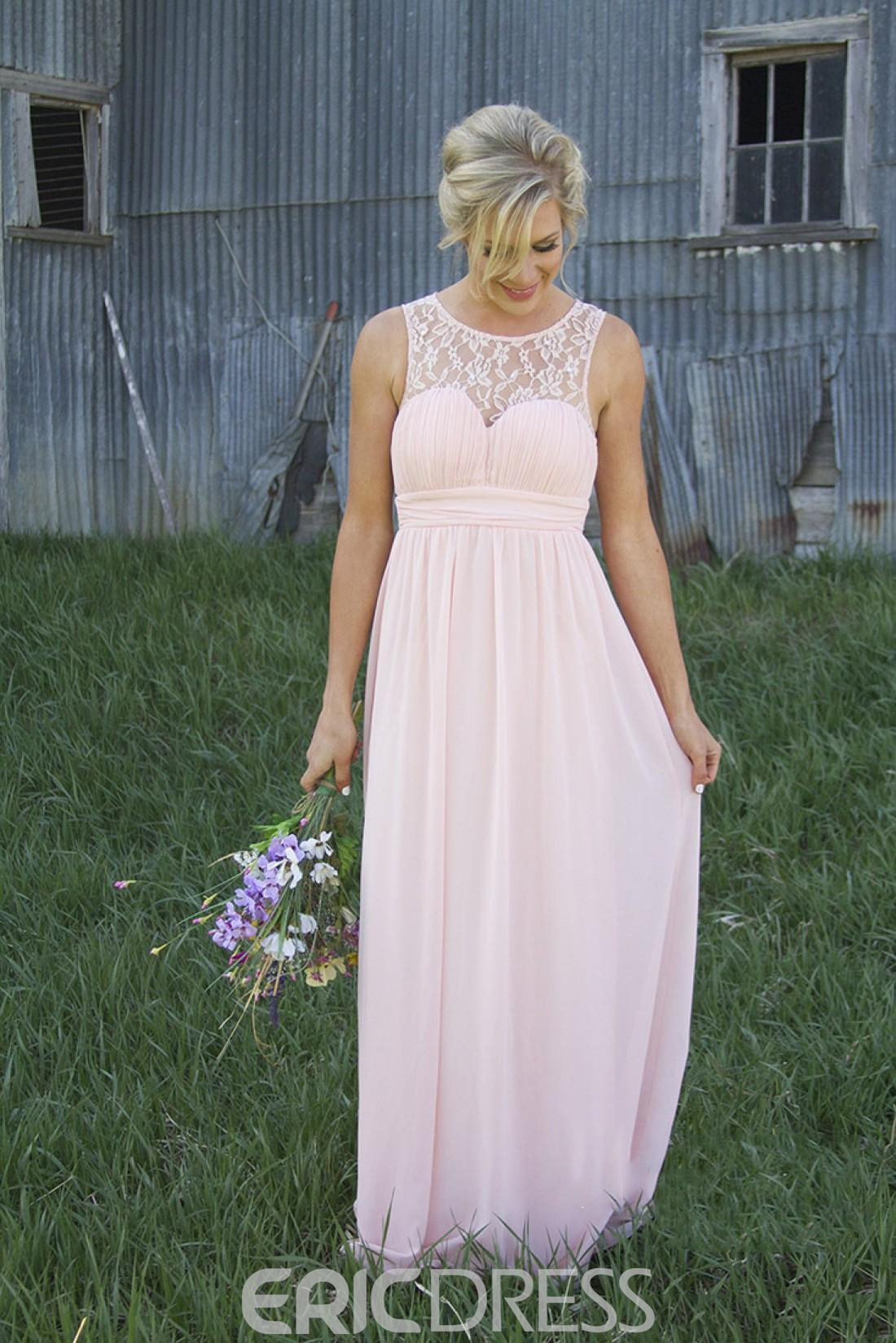 Lace A-Line Sleeveless Scoop Bridesmaid Dress 2019