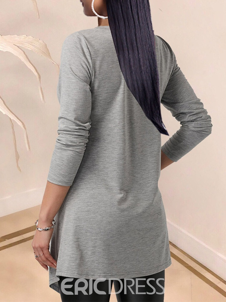 Ericdress Long Sleeve Round Neck Mid-Length Casual Fall T-Shirt