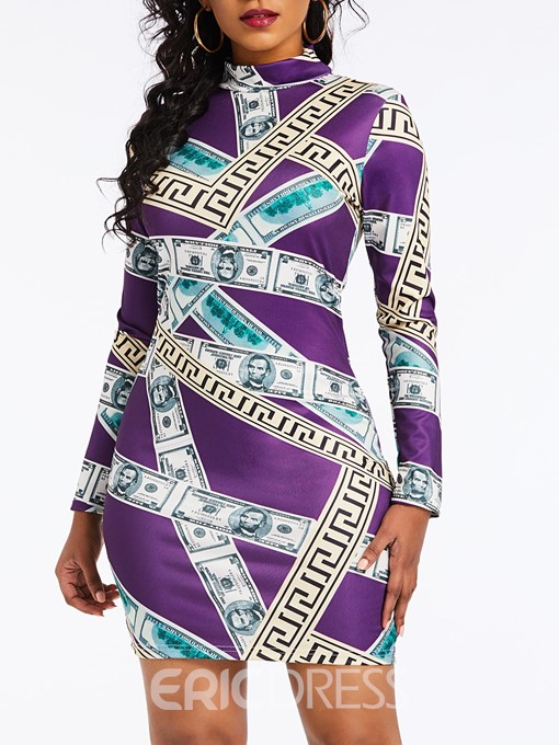 Ericdress Print Long Sleeve Above Knee Turtleneck Dress