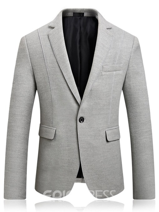 Ericdress Plain Slim Notched Lapel One-Button Mens Casual Blazer