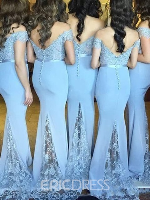 Ericdress Off the Shoulder Appliques Mermaid Bridesmaid Dress 2019