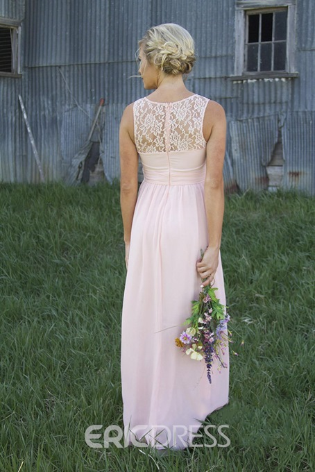 Lace A-Line Sleeveless Scoop Bridesmaid Dress
