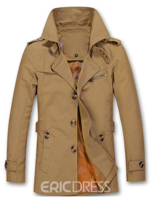 Ericdress Notched Lapel Slim Thin Single-Breasted Men's Trench Coat