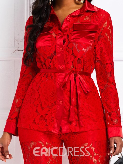 Ericdress Lace See-Through Sexy Party Shirt and Pants Women's Two Piece Sets