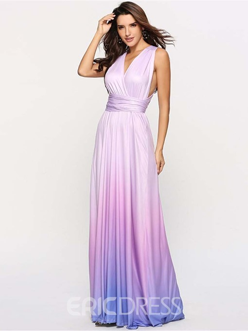 Ericdress Gradient Cocktail Sleeveless Floor-Length Expansion Maxi Dress