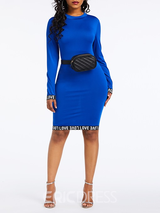 Ericdress Long Sleeve Knee-Length Round Neck Dress